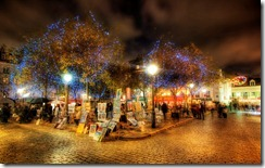 After spending the sunset circling Le Sacre Couer like a photographer-vulture, I followed a few roads that led deeper into Montmartre.  This is the famous area that held the studios of many famous artists including Picasso, Monet, and Van Gogh.   Also, if